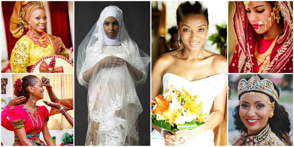 Six ladies dressed in African and Caribbean bridal wear