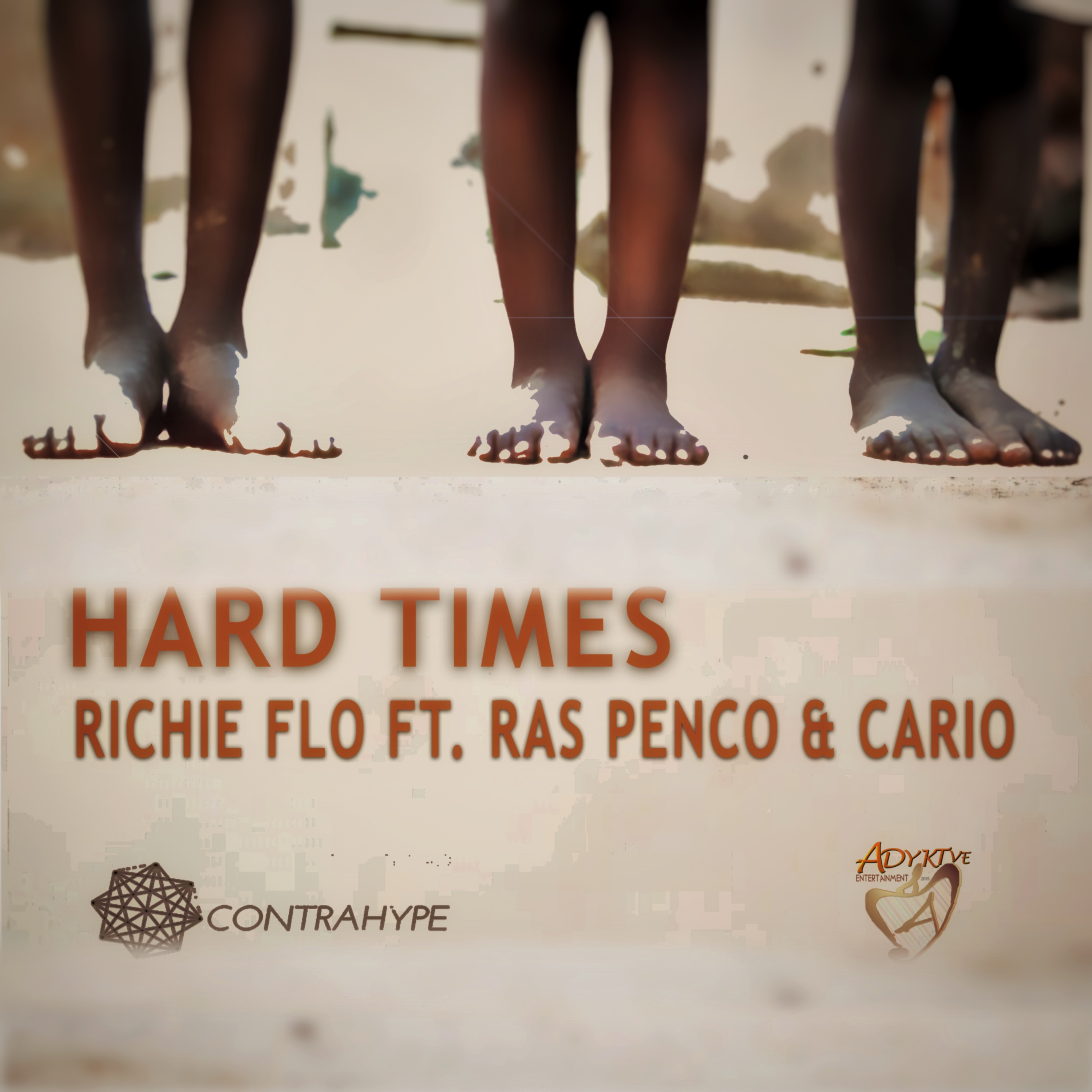 Single cover for Hard Times - Richie Flo ft. Ras Penco Cario