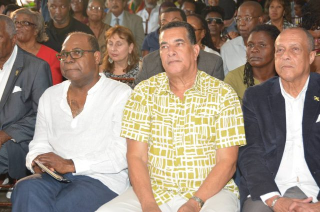 3 men sitting together at the IRIE FM Lifetime Achievement ceremony honouring harder they come