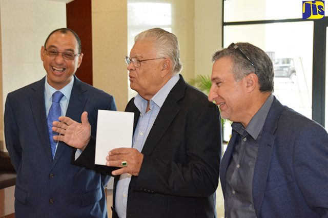 Hon. Karl Samuda, Chairman of JAMPRO, Don Wehby and Metry Seaga standing together