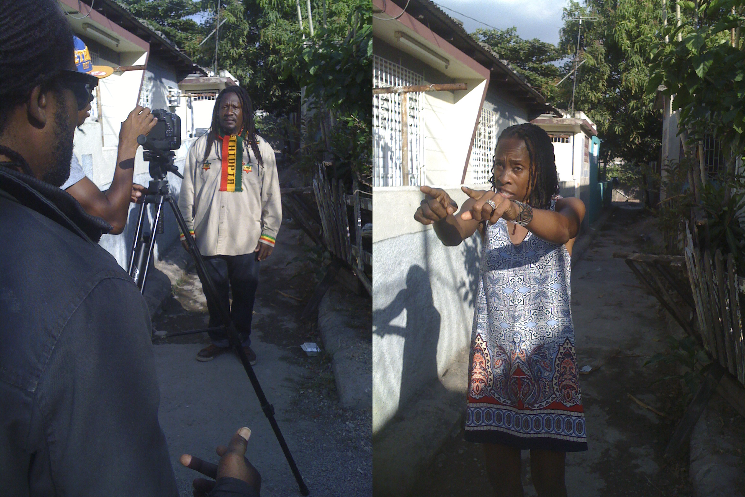 Artist Karamanti and Mikey General filming their new music video