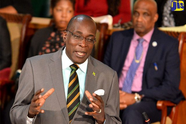 Minister of Education, Youth, and Information, Senator the Hon. Ruel Reid addressing the sitting of the Senate.