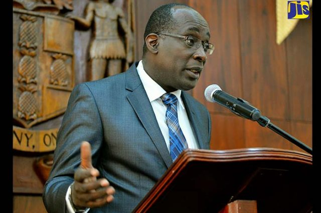Minister of Education, Youth and Information, Senator the Hon. Ruel Reid. discussing redevelopment of Fishing Village