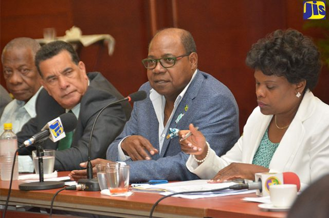 Minister of Tourism, Hon. Edmund Bartlett (2nd right), responding to a question at a round-table discussion of the planning committee for the November 27-29 United Nations World Tourism Organization (UNWTO) Conference, at the Montego Bay Convention Centre on February 17. Others (from right) are Permanent Secretary in the Ministry of Tourism, Jennifer Griffith; Mayor of Montego Bay, Homer Davis; and Chairman of the Tourism Enhancement Fund, Godfrey Dyer