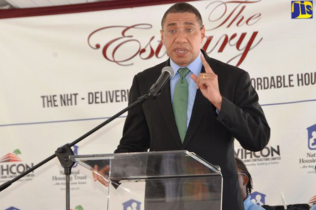 Prime Minister the Most Hon. Andrew Holness delivering the keynote address during the ground breaking ceremony for the construction of 1, 500 housing units at The Estuary in Friendship, St. James
