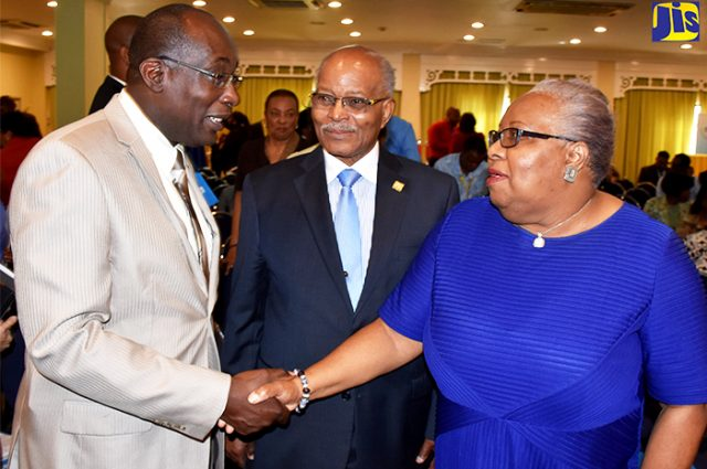 Lady shaking hands with Minister of Education, Youth and Information, Senator the Hon. Ruel Reid