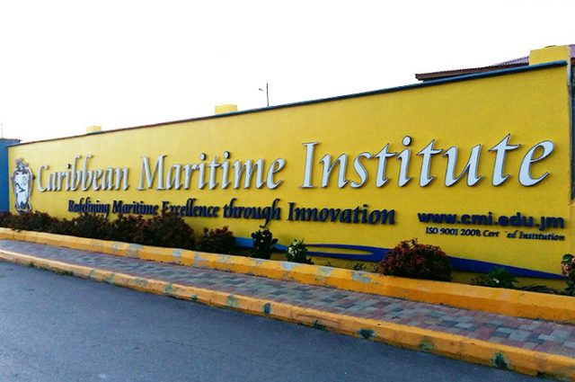 Sign saying Caribbean Maritime Institute for interest rates