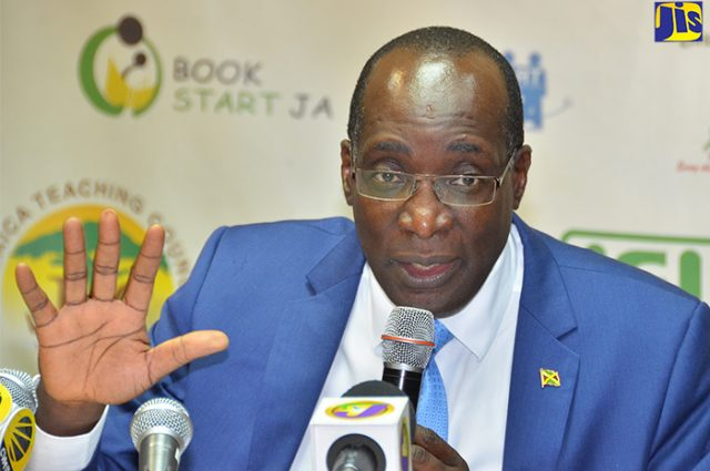 Minister of Education, Youth and Information, Senator the Hon. Ruel Reid discussing GSAT