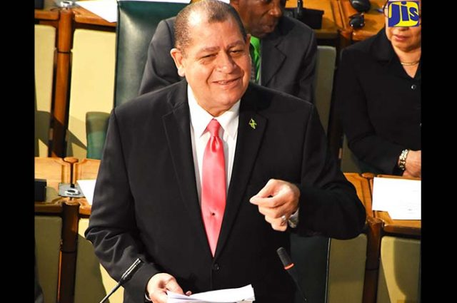 Minister of Finance Audley Shaw talking to the house of representatives at the budget debate opening