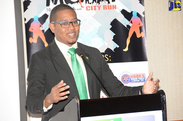 Minister of State in the Ministry of Education, Youth and Information, Hon. Floyd Green, addressing careers