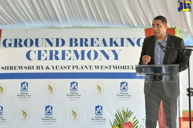 PM Andrew Holness at the ground breaking ceremony for developments