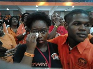 Image result for Picture of Portia Simpson-Miller crying after her farewell speech