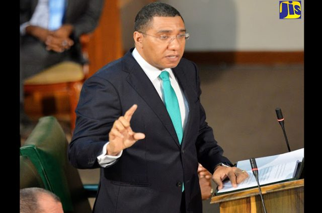 Prime Minister Andrew Holness making his Budget Debate presentation