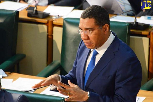 Prime Minister, the Most Hon. Andrew Holness, speaks in the House of Representatives about defence act