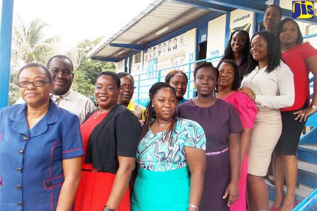 Principal of Woodford Primary and Infant School, Jennifer Gordon with members of staff.