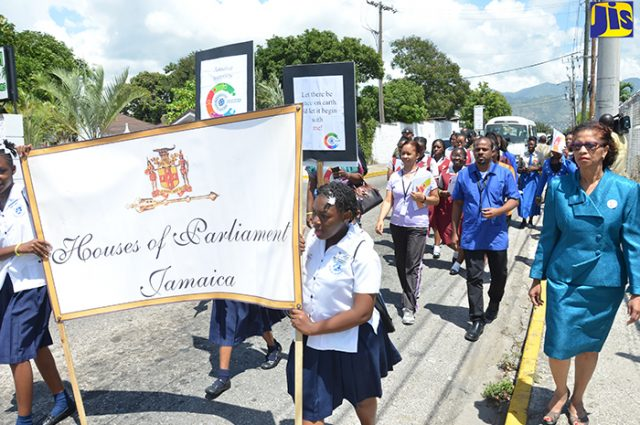 students and other stakeholders in a walk for peace as part of activities to mark Commonwealth Day