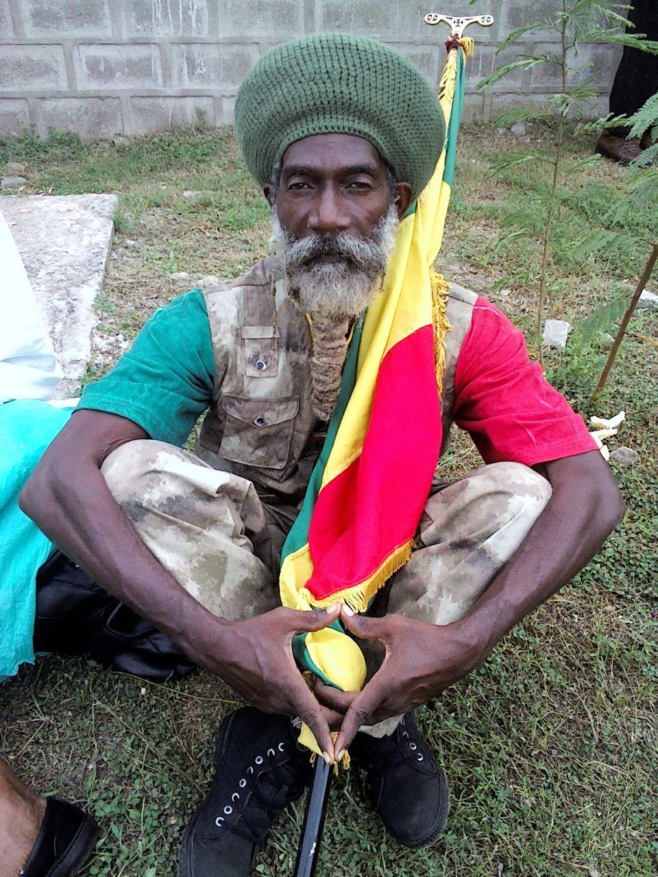 Rastafarian posing for camera