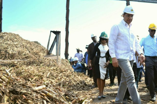Andrew Holness on a tour for the sugar industry at the Monymusk Sugar Factory,