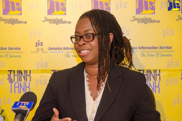 Cybersecurity Consultant, Dr. Moniphia Hewling, speaking at a JIS 'Think Tank about ICT Conference