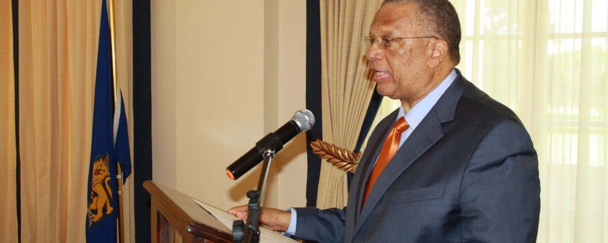 Dr. Phillips addresses assembed group at Kings House after being swrn in as Oppositin Leader