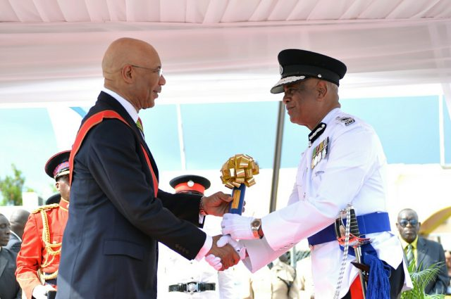 Police Commissioner George Quallo and Governor-General Sir Patrick Allen