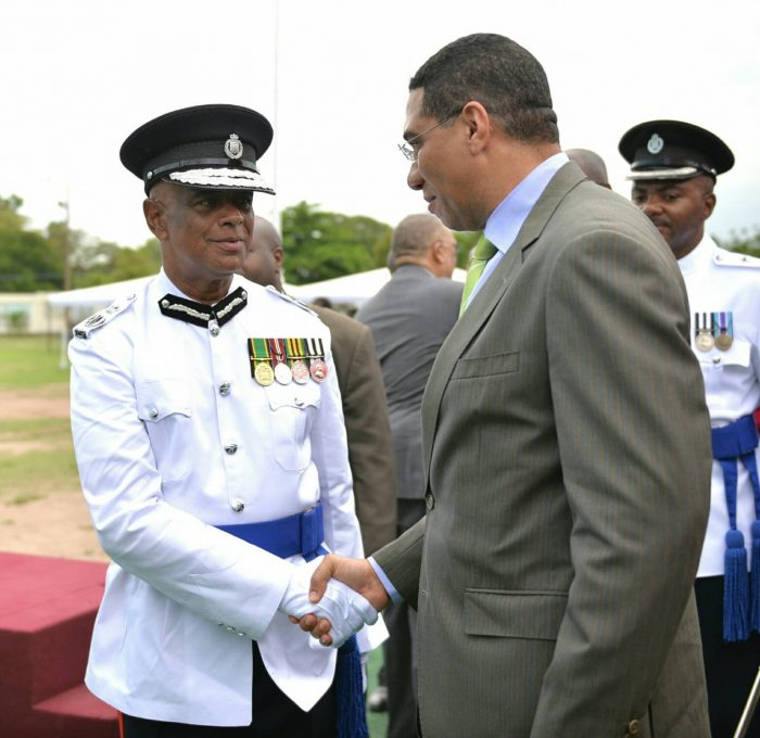 Police Commissioner Georgr Quallo and Prime Minister Andrew Holness