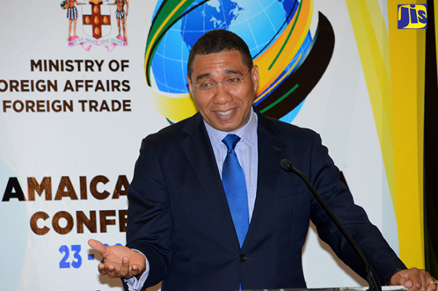 Prime Minister Andrew Holness, addresses launch of the Jamaica 55 Diaspora Conference