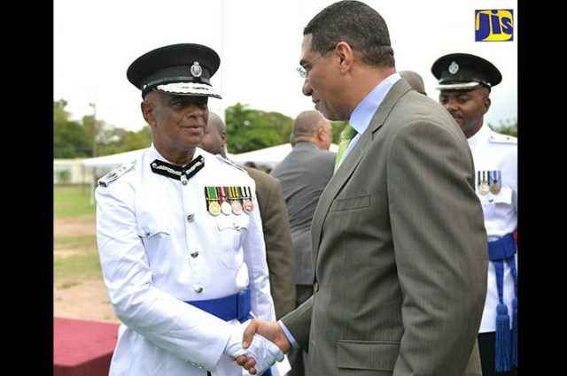 Andrew Holness converses with new Police Commissioner