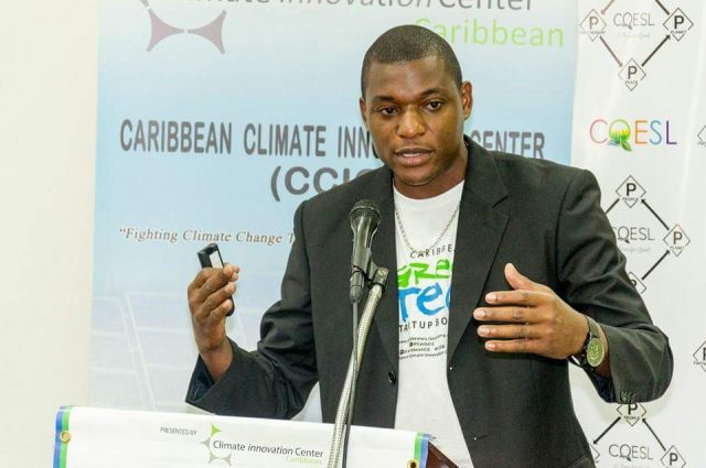Carlington Burrel discussing climate change