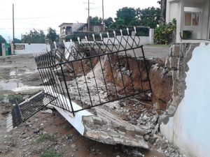 Collapsed wall on Barbican Road