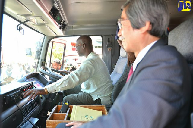 Desmond McKenzie with japan ambassador at fire station