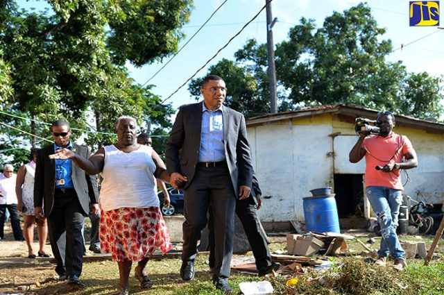 PM Holness visiting floods of Clarendon