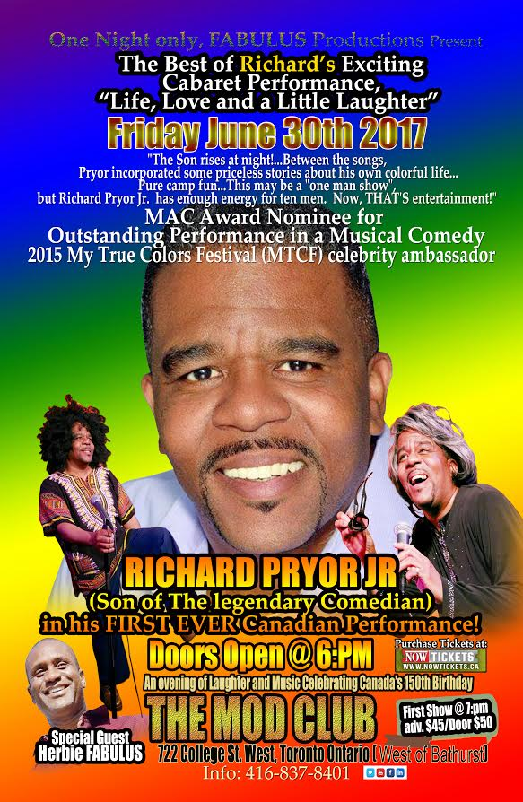 Poster for Richard Pryor Jr's upcoming comedian show presented by Vision Newspaper Toronto