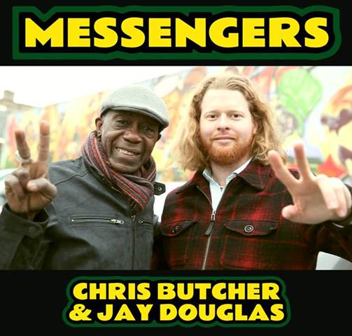 Reggae artists Chris Butcher and Jay Douglas posing for Vision Newspaper Jamaican News